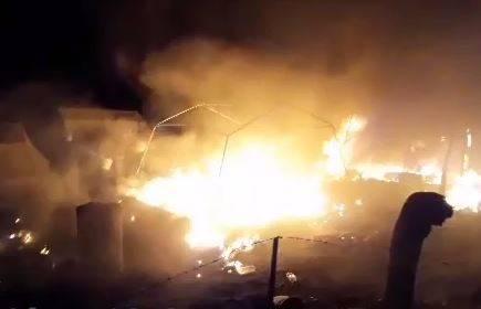 آتش سوز چادر زلزله زدگان کرمانشاه