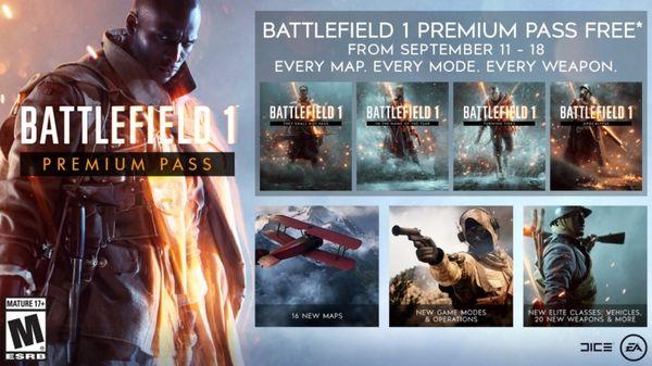 شرکت Electronic Arts بسته الحاقی Premium Pass عنوان Battlefield 1 را تا مدت زمانی محدود رایگان کرد