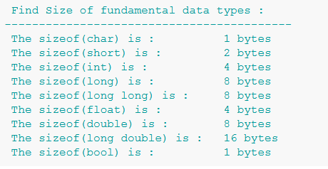 به دست آوردن اندازه ی انواع متغیر ها در C++