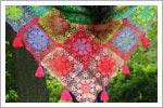 مدل اشارپ دخترانه با موتیف های رنگارنگ