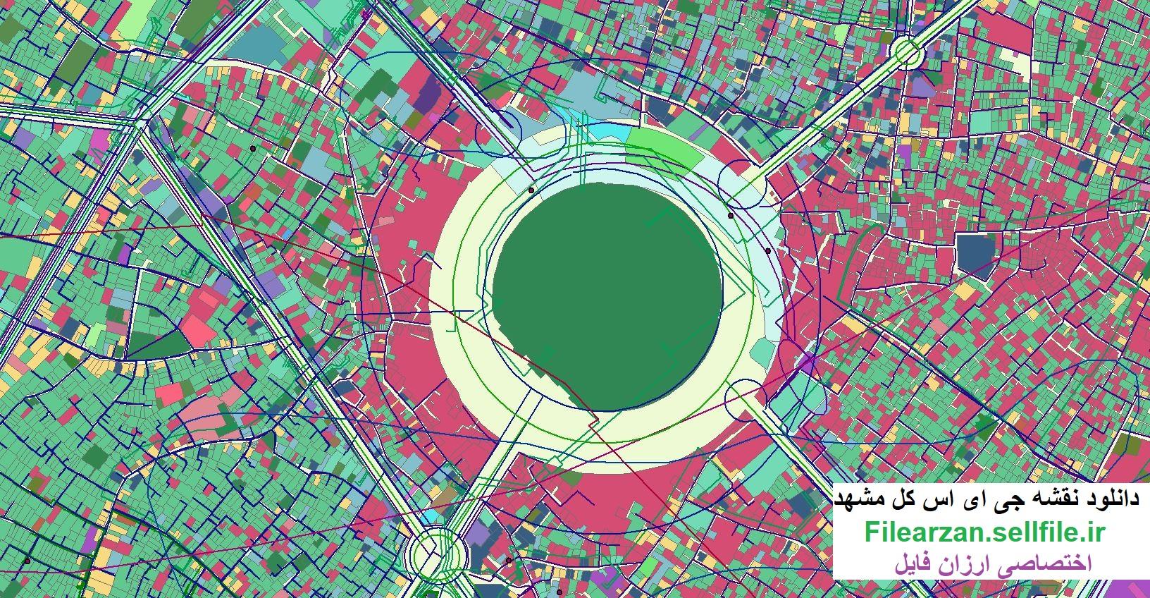 دانلود رایگان نقشه gis کل مناطق شهر مشهد
