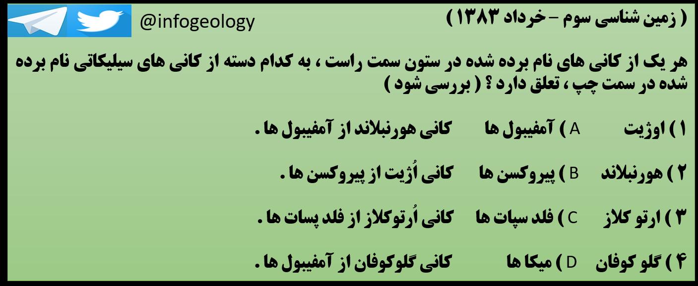 159 - سوال امتحانی زمین شناسی سوم خرداد 1383 .