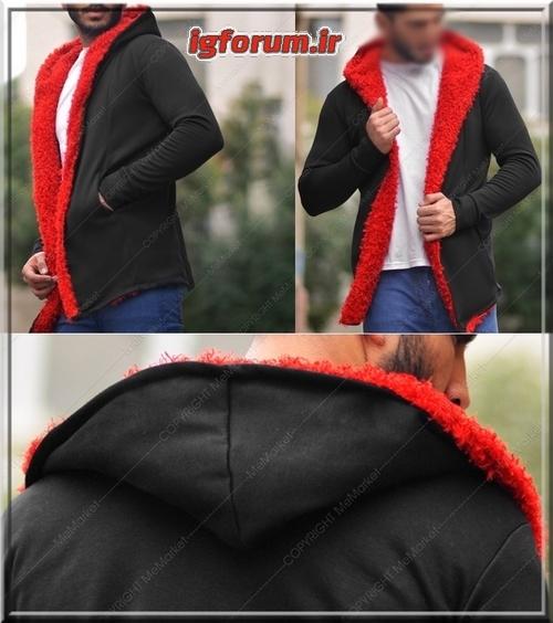 هودی کلاه  جیب دار مشکی خز قرمز فشن مردانه