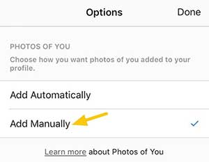 قبل از نمایش محتوا در پروفایل خود تگ های عکس ها را تایید کنید