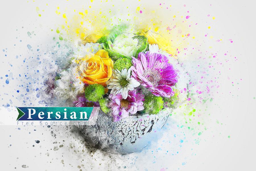 دانلود عکس گل های رنگی با افکت آبرنگ WaterColour Flower