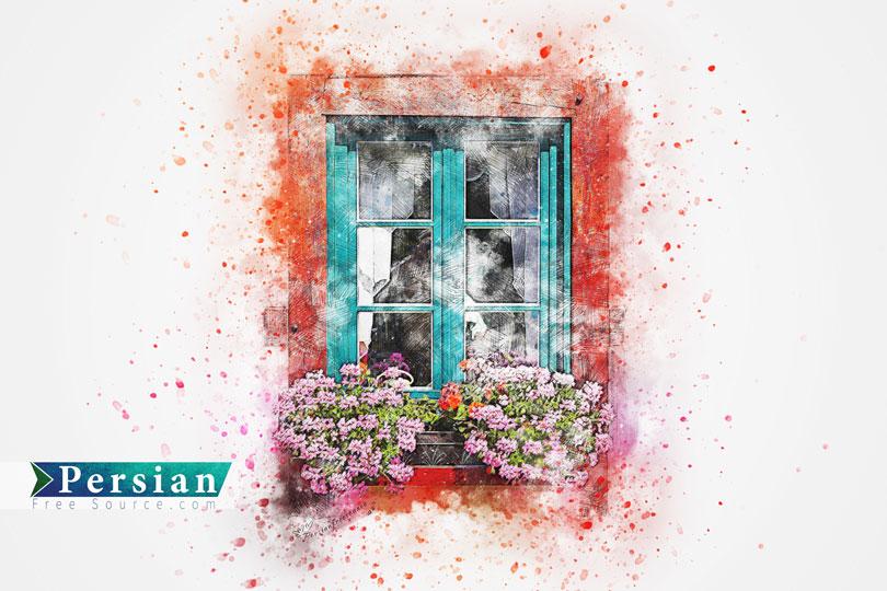 دانلود عکس استوک نقاشی آبرنگ پنجره و گل