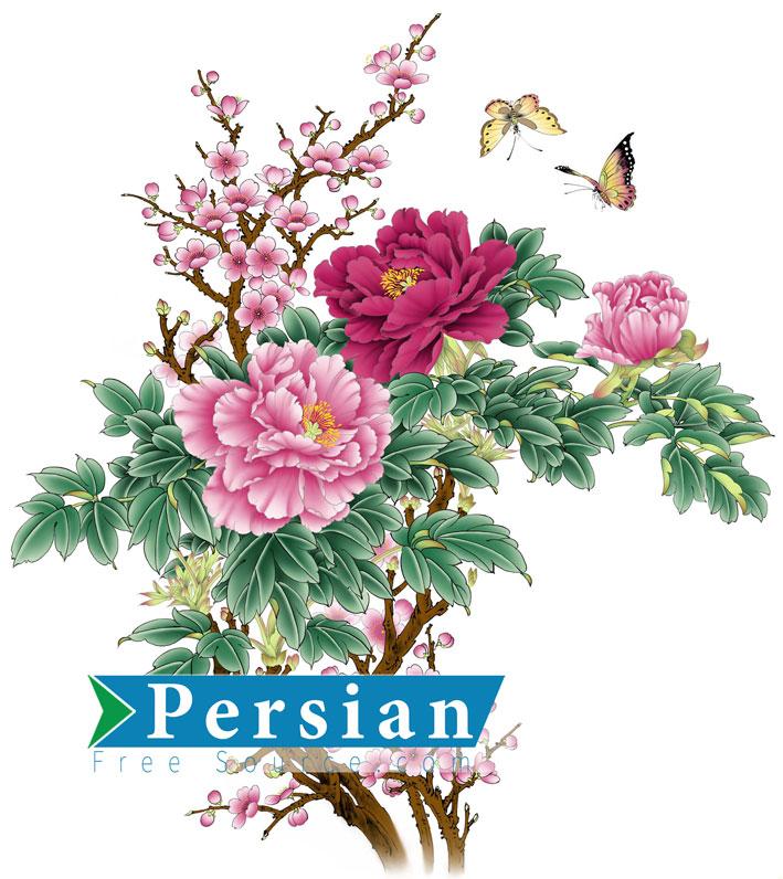 دانلود تصویر زیبای گلهای بهاری و پروانه