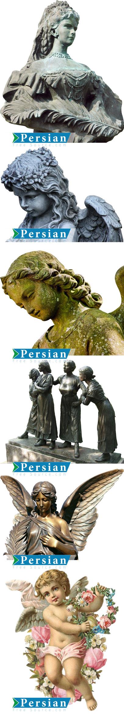 دانلود ۱۵ تصویر PNG مجسمه فرشته ، کودک و زن