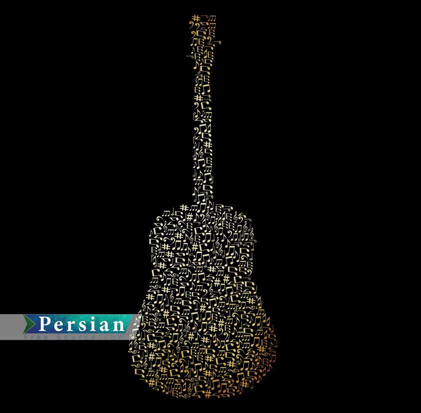 دانلود وکتور لایه باز گیتار و نت های موسیقی