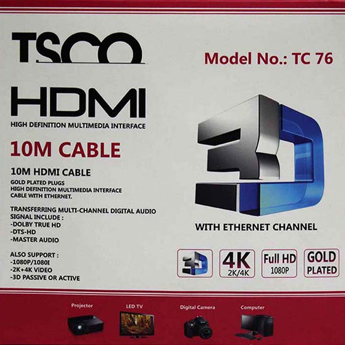 tsco tc 76 hdmi cable 10m tsco tc 76 hdmi cable 10m Tsco TC 76 HDMI Cable 10m Tsco TC 76 HDMI Cable 10m