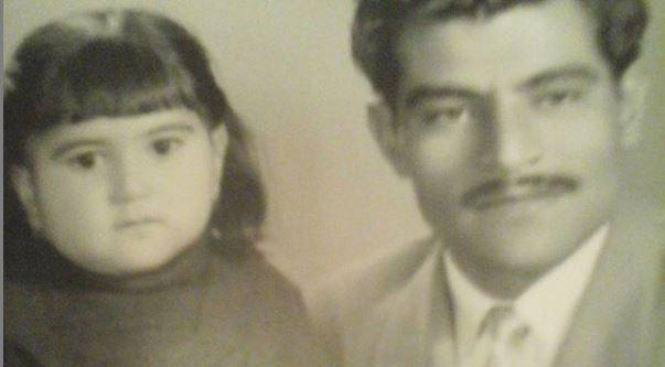خانم امیریان در دو سالگی همراه با پدر