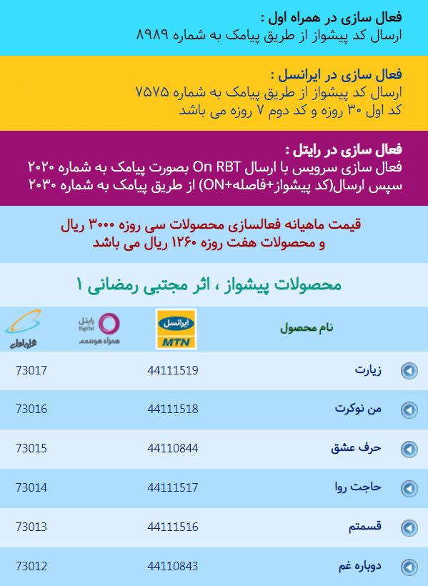 کد آهنگ پیشواز مجتبی رمضانی برای همراه اول و ایرانسل بخش 1