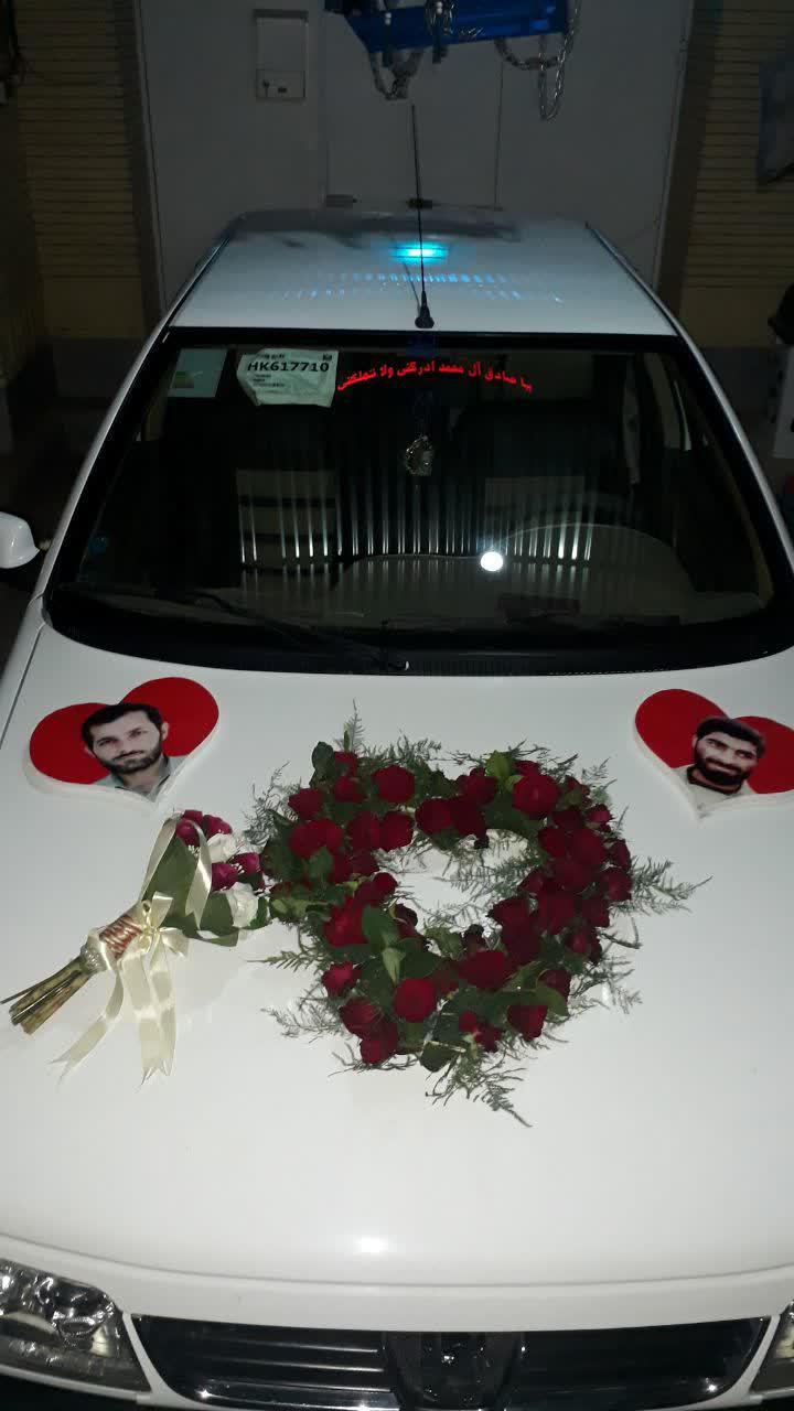 تزئین ماشین عروس به یاد شهدای دفاع مقدس