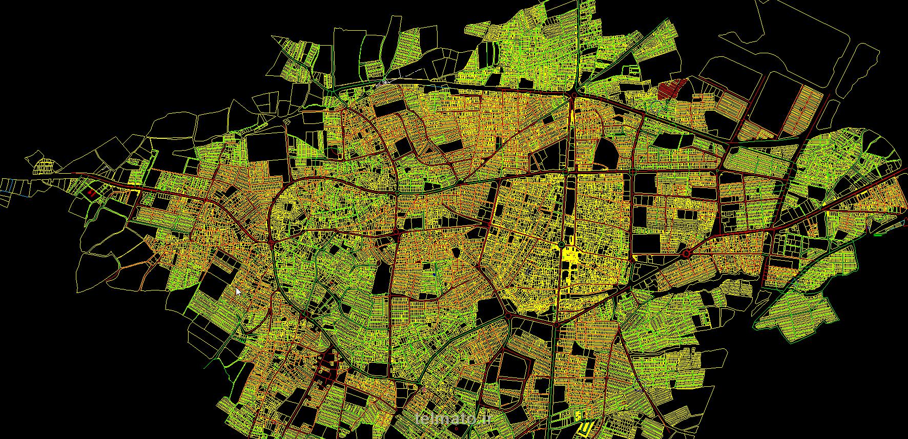 دانلود رایگان فایل اتوکد نقشه شهری معماری شهرستان خوی با فرمت (DWG) khoy autocad plan